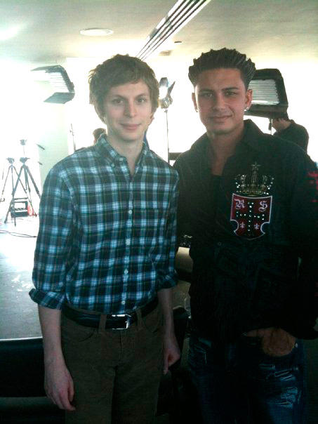 Michael Cera and DJ Pauly D of MTV's Jersey Shore