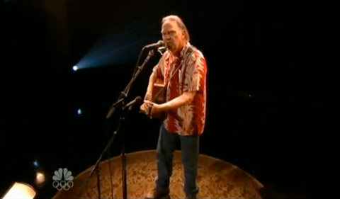 Neil Young plays Long May You Run for Conan O'Brien's last night on The Tonight Show