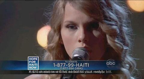 Taylor Swift sings Better Than Ezra's Breathless for Haiti telethon