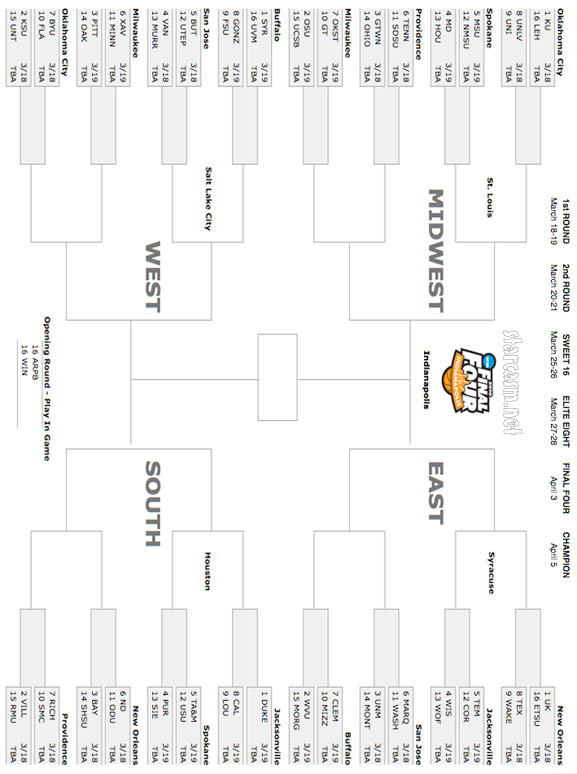 graphic relating to Printable March Madness Bracket known as 2010 March Insanity Bracket (printable) -