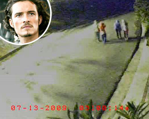 Alexis Neiers and the Burglar Bunch are caught on tape outside of Orlando Bloom's house