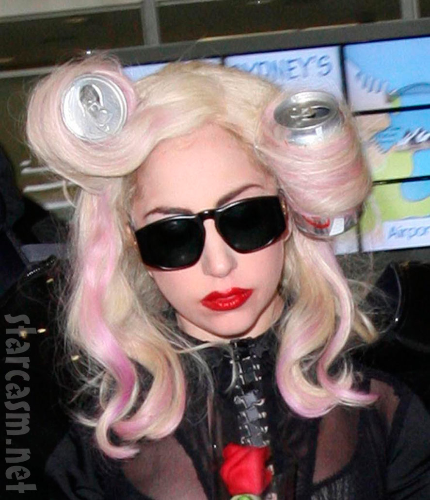Lady Gaga with Diet Coke can curlers