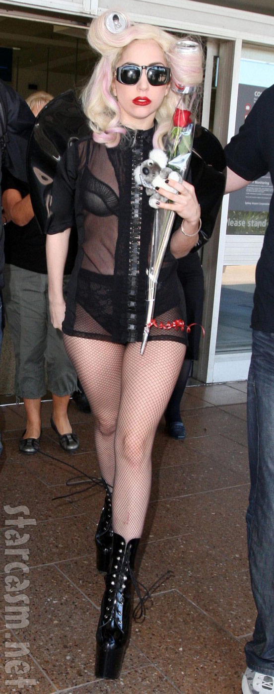 Lady Gaga in bra and panties and the usual fishnet stockings