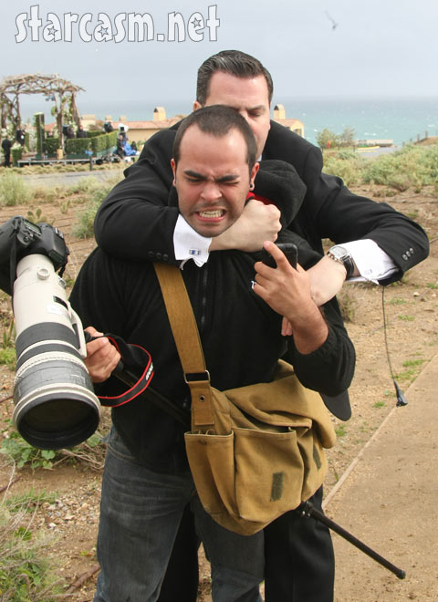 A photographer is detained by security at The Bachelor wedding of Jason Mesnick and Molly Malaney