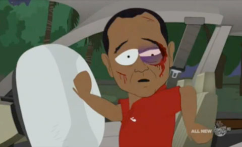 Tiger Woods just after his SUV crash on South Park