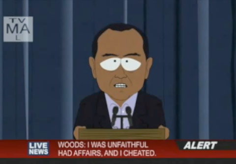 Tiger Woods press conference on South Park