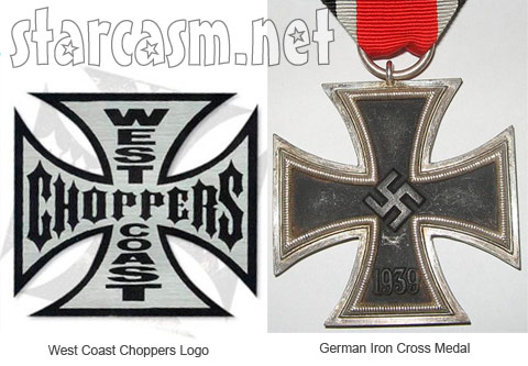West Coast Choppers Logo and the Nazi German Iron Cross medal