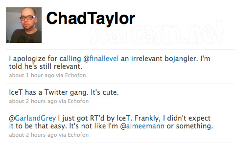 Chad Taylor apologizes to Ice T via Twitter