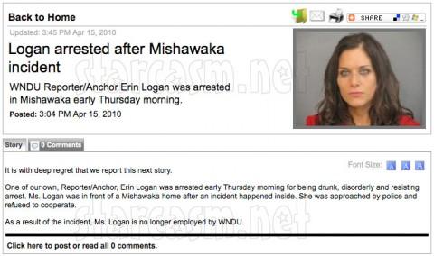 WNDU web page announcing the firing of Erin Logan