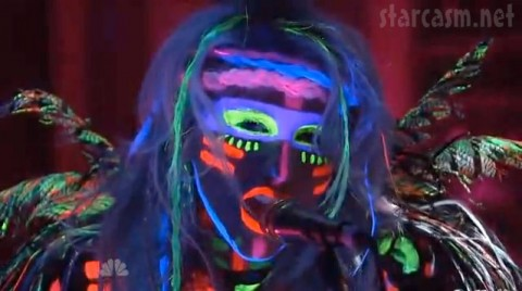Ke$ha wears Native American fluorescent face paint on Saturday Night Live