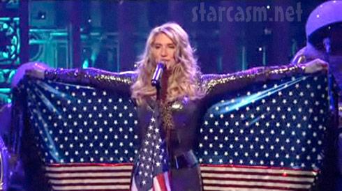 Kesha's patriotic costume during Tik Tok from SNL