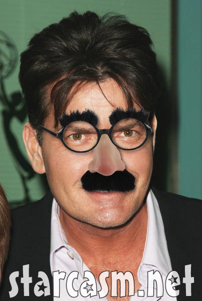 Charlie Sheen in Gourcho Marx nose and glasses