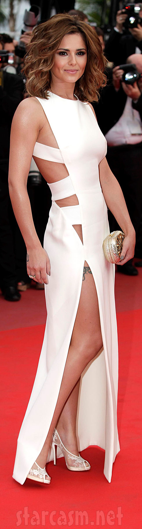 Cheryl Cole's sexy and revealing white dress at Cannes 2010