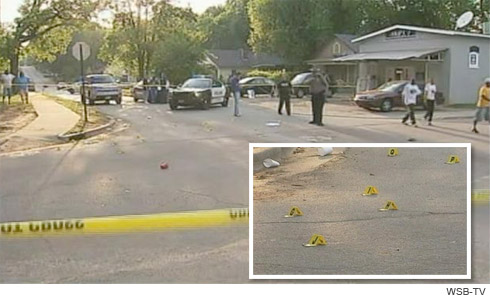 crime scene of Yung Hott's shooting in Griffin, Georgia