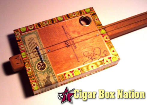 Two-string cigar box guitar