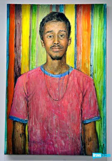 Ryan Shultz's portrait of Abdi Farah from Work of Art