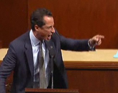 Representative Anthony Weiner screams in rage on the House Floor