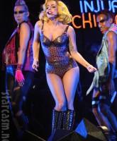 Lady Gaga in a sexy skin-tight animal print leotard
