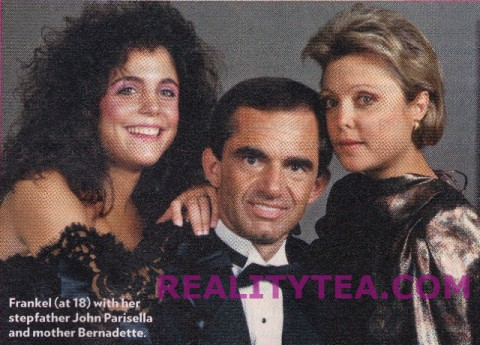 Old photo of Bethenny Frankel with her mother Bernadette Parisella and stepfather John Parisella