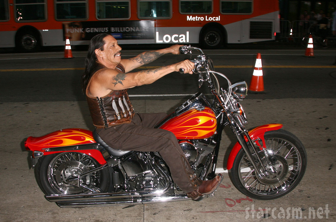 Danny Trejo on a custom motorcycle