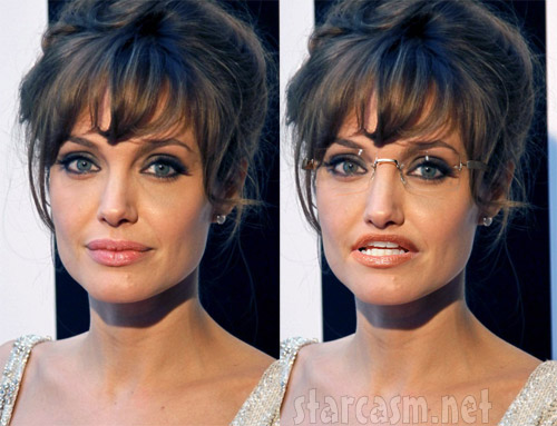 Side-by-side photo of Angelina Jolie's Sarah Palinization process