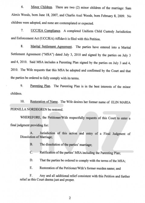 Tiger Woods Divorce document part 1