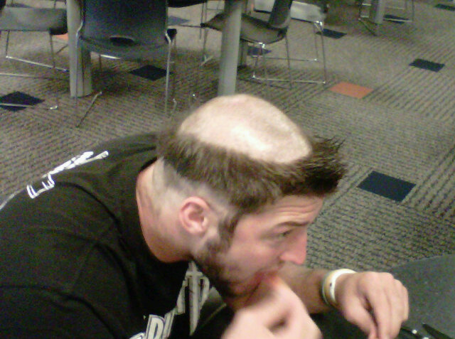 Tim Tebow has his head shaved by Denver Broncos teammates
