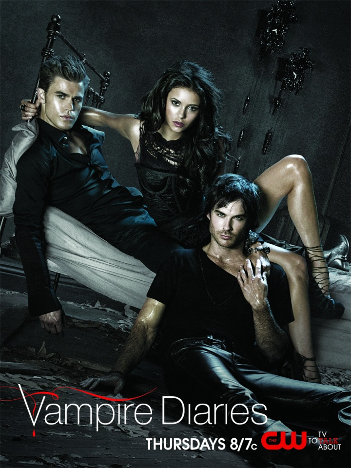 Paul Wesley as Stefan, Nina Dobrev as Elena and Ian Somerhalder as Damon