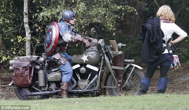 Chris Evans stunt double on a motorcycle from the set of Captain America: The First Avenger