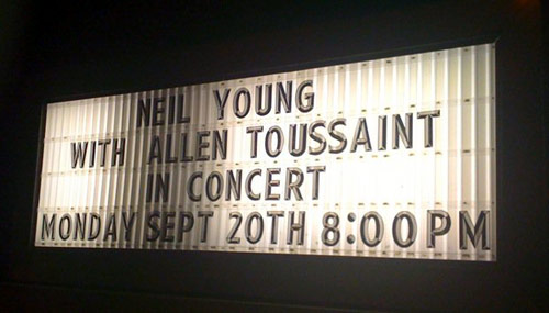Neil Young Panama City Marina Civic Center Marquee