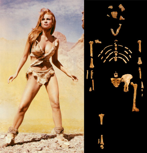 Raquel Welch as a cavechick and actual cavechick Lucy