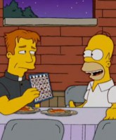 Homer Simpson is shown the joy of Bingo at a Catholic Church