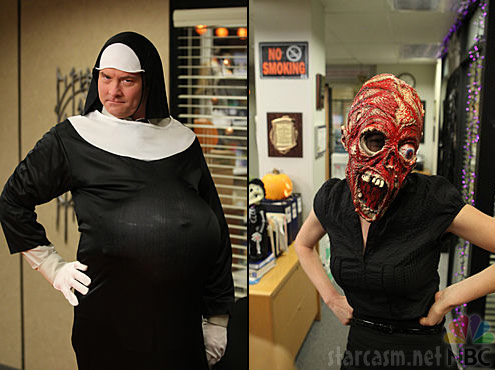 Packer as a pregnant nun and Erin as a zombie monster from The Office
