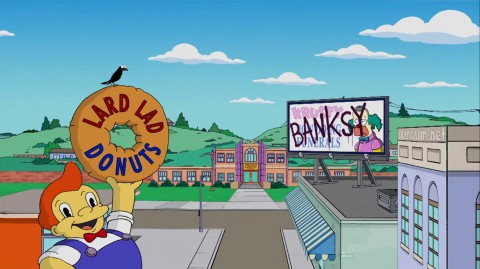 Banksy graffiti on a Springfield billboard on The Simpsons
