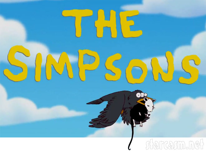 The Simpsons logo with Banksy crow and rat