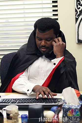 Darryl from The Office in a vampire costume