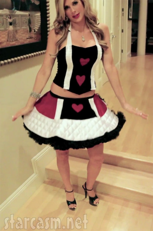 Alexis Bellino full-length photo of her Queen of Hearts Halloween costume