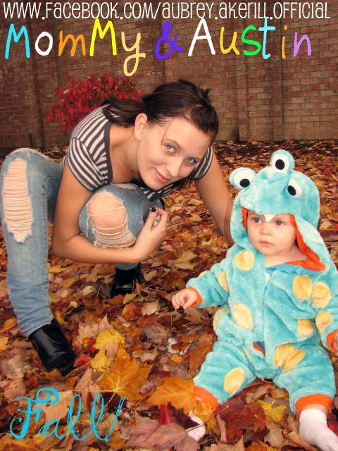 Aubrey Wolters Akerill and son Austin in a Halloween costume