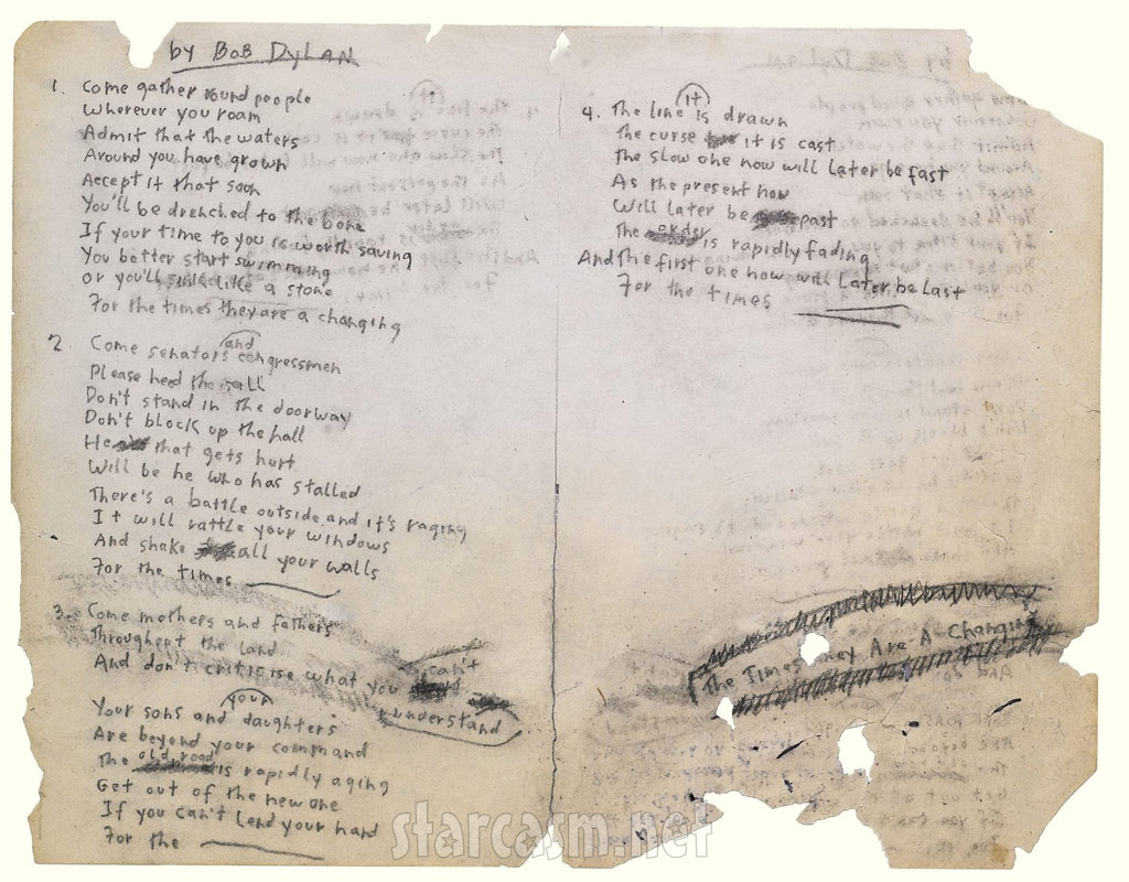 Bob Dylan's original hand-written lyrics for The Times They Are A Changin go up for auction December 10, 2010 by Sothebys