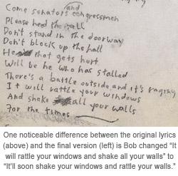 Bob Dylan lyrics zoom