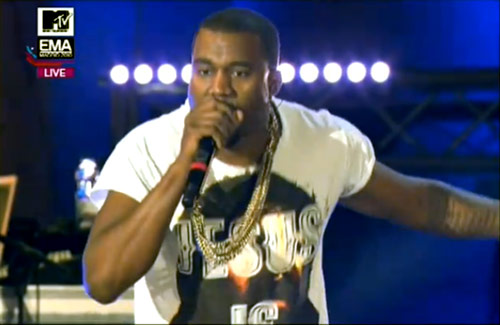 Kanye West performs with 30 Seconds to Mars at the 2010 European Music Awards