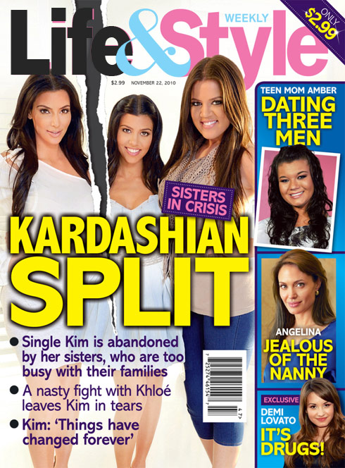 Life and Style Kardashian split cover November 22 2010