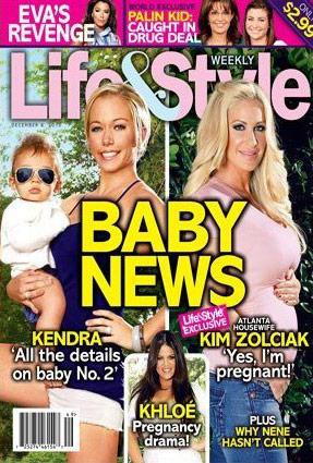 Kendra Wilkinson and Kim Zolciak are pregnant - November 2010 Life and Style magazine cover