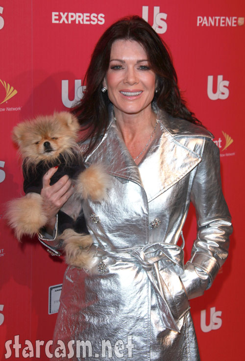 Lisa Vanderpump and Giggy the Pom on the red carpet at the Us Weekly Stars Who Care event