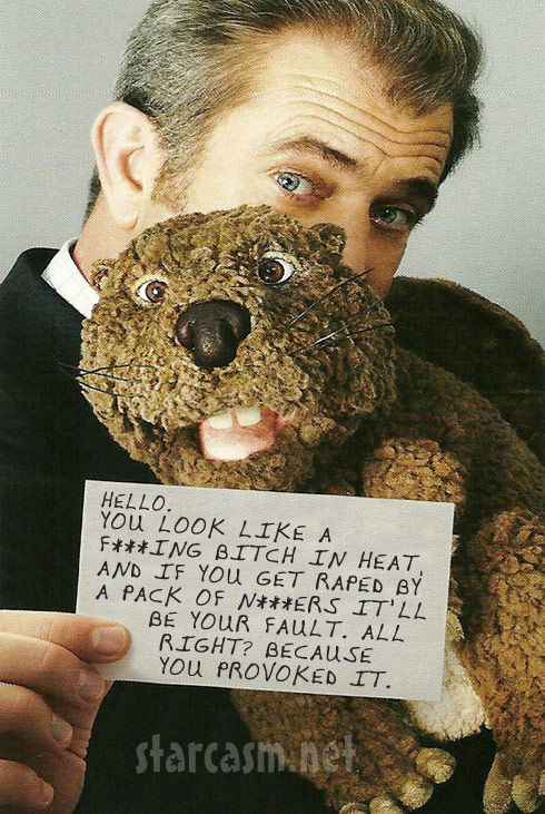 Mel Gibson The Beaver poster with racist tyrade