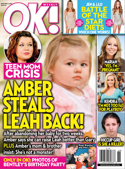 Amber Portwood of Teen Mom on the cover of OK! magazine 11-15-10