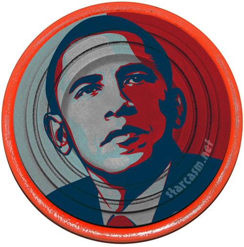 Barack Obama clay pigeon used by Sarah Palin while skeet shooting