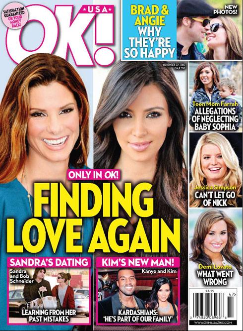OK! magazine cover November 22 2010 Sandra Bullock Kim Kadashian