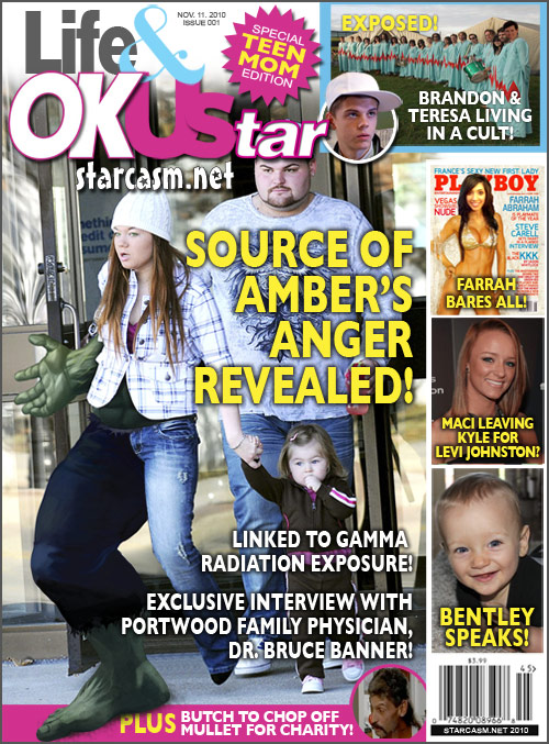 Teen Mom fake tabloid magazine with Amber as the Incredible Hulk