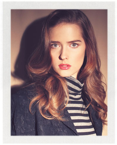 Ann Ward wearing Estee Lauder cosmetics applied by makeup artist Troy Jensen